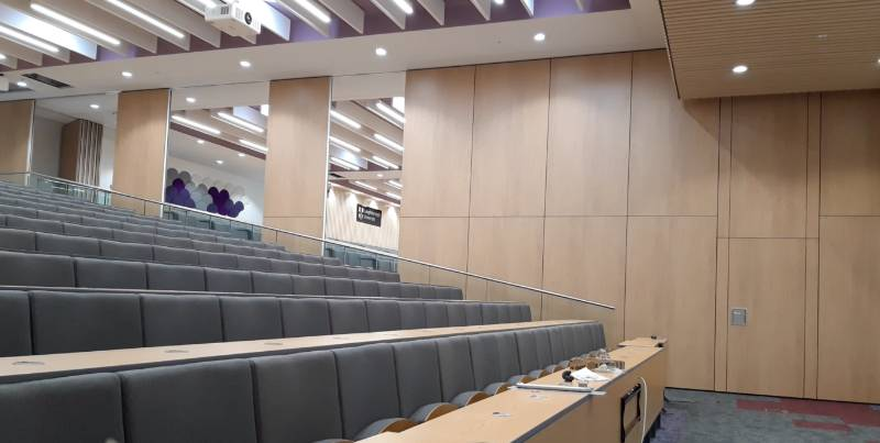 Automatic wall divides stepped lecture theatre