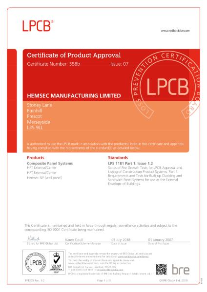 Hemsec LPCB LPS 1181 Certificate 558b