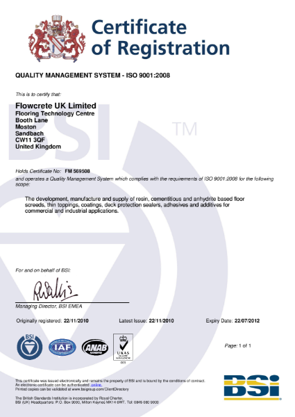 BS EN ISO 9001 Certificate