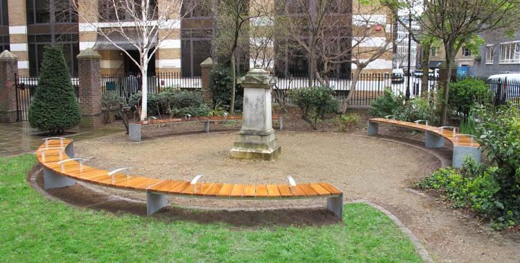 New circular seating for Mark Street Gardens, Hackney