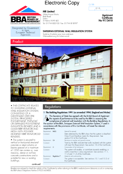 97/3410 Swisspan external wall insulation system
