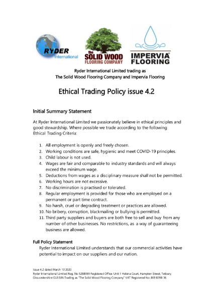 The Solid Wood Flooring Company: Ethical Trading Policy