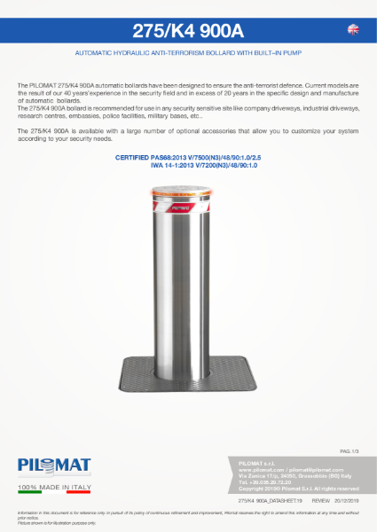 Macs K4 PAS68 HVM Automatic Bollard Data Sheet
