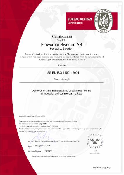 BS EN ISO 14001 Certificate