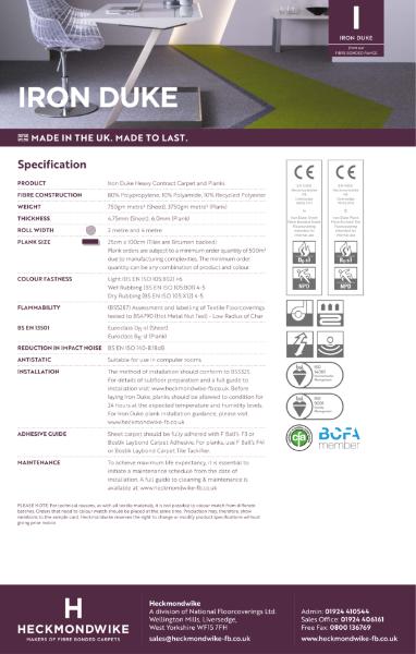 Specification Sheet - Iron Duke Commercial Carpet & Commercial Carpet Planks