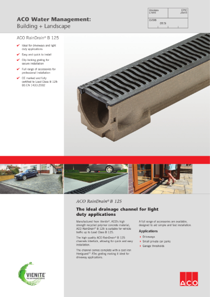 ACO RainDrain B 125 brochure