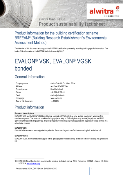 BREEAM Certificatiin Evalon VSK