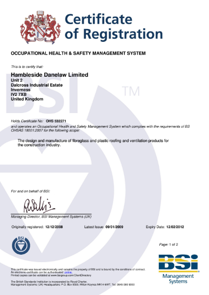 BS OHSAS 18001: 2007 Certificate