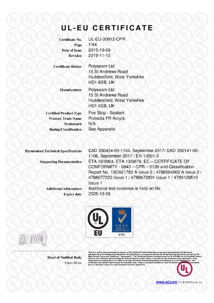 Protecta FR Acrylic - UL-EU Certificate