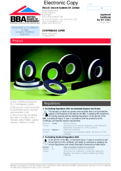97/3331 Compriband Super sealing tapes