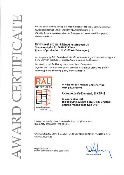 RAL certificate - Compactus® Dynamic II XTR8