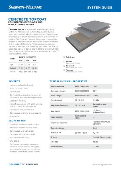 Resin flooring Cemcrete Topcoat system