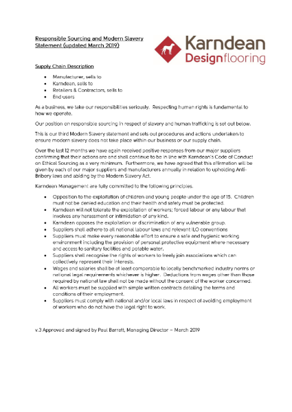 Responsible Sourcing Statement