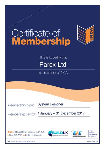 INCA Certificate of Membership