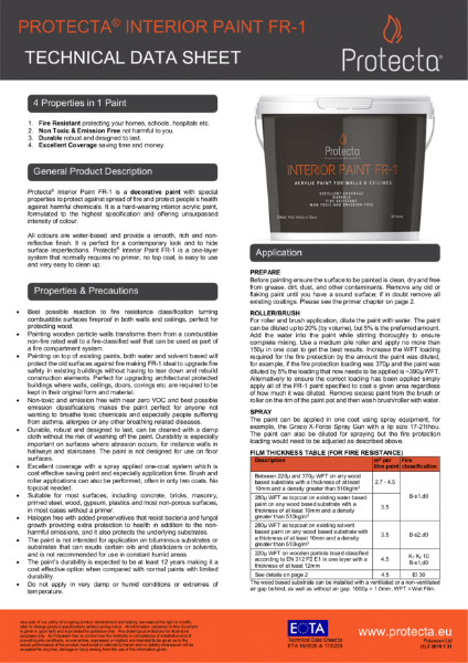 Protecta Interior Paint FR-1 - Technical Data Sheet