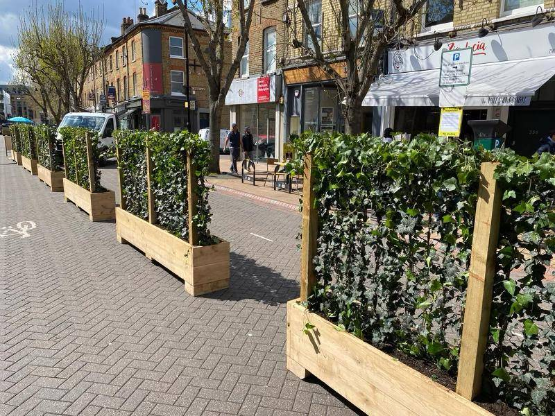 The leafy solution to safe socialising in Wandsworth High Street: Green Screens