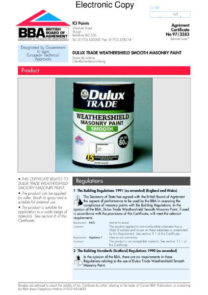 97/3383 Dulux Weathershield smooth masonry paint
