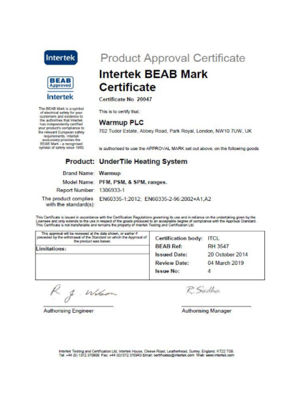 Intertek BEAB Mark Certificate (Undertile heating system)