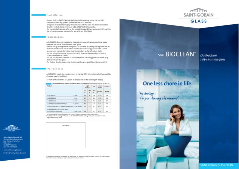 SGG BIO-CLEAN Dual-action self-cleaning glass