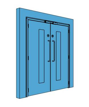 Double Metal Access Control Door with Vision Panel
