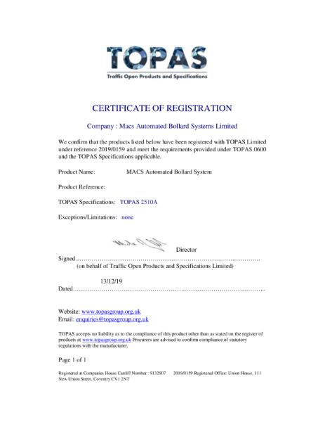TOPAS 2510A APPROVAL