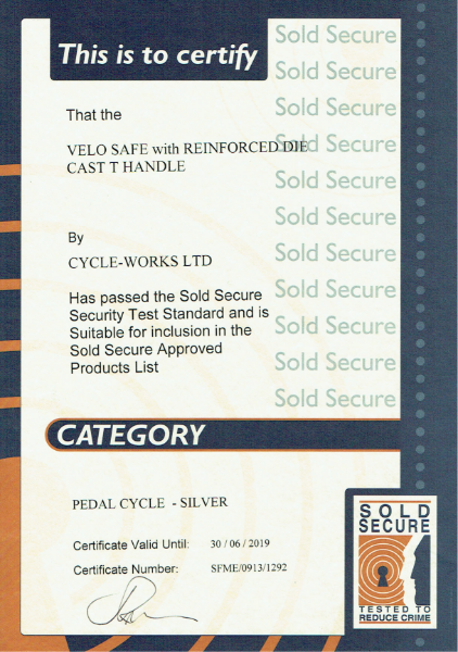 Sold Secure Certificate-Velo-Safe locker-t-handle