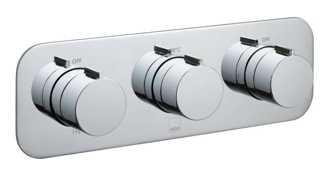 Altitude Tablet Horizontal 3 Outlet 3 Handle Thermostatic Valve with All-Flow