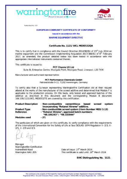 Wheel Mark Certificate - Certificate of Conformity