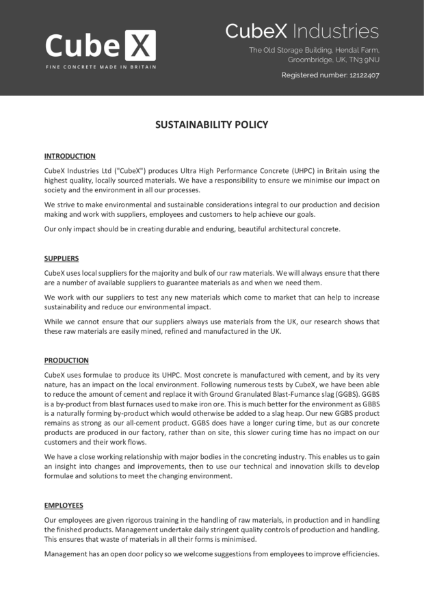 Sustainability Policy