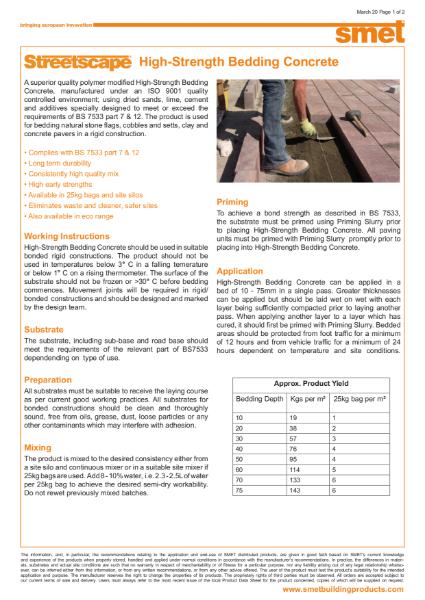 Streetscape® High Strength Bedding Concrete | TDS