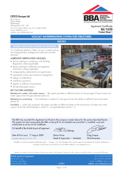 86/1650 Volclay waterproofing system for structures