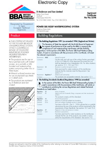 96/3298 Power SBS roof waterproofing system