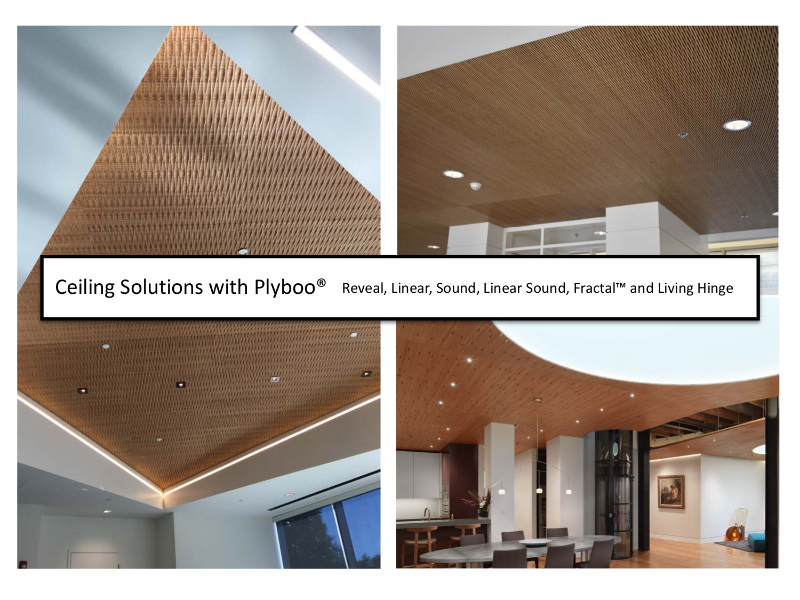 Ceiling Solutions with Plyboo® Reveal, Linear, Sound, Linear Sound, FractalTM and Living Hinge