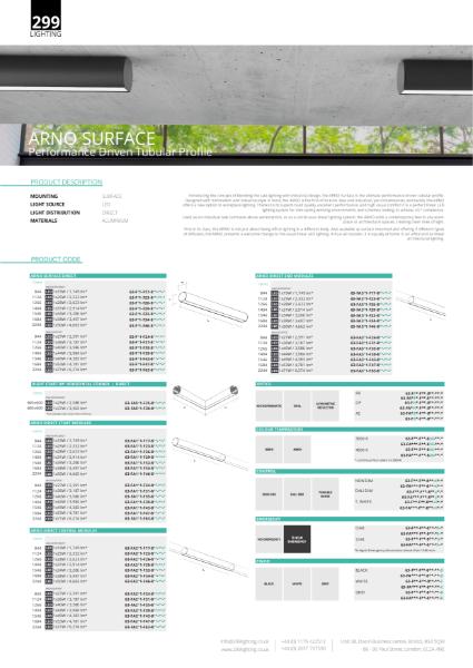 Arno Surface Linear Lighting Datasheet