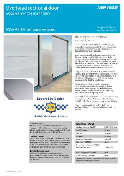 Industrial Overhead Section Protect Door - ASSA ABLOY OH1042P (Secured by Design)