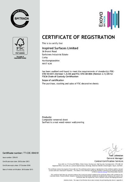 Inspired Surfaces Ltd FSC® Certified