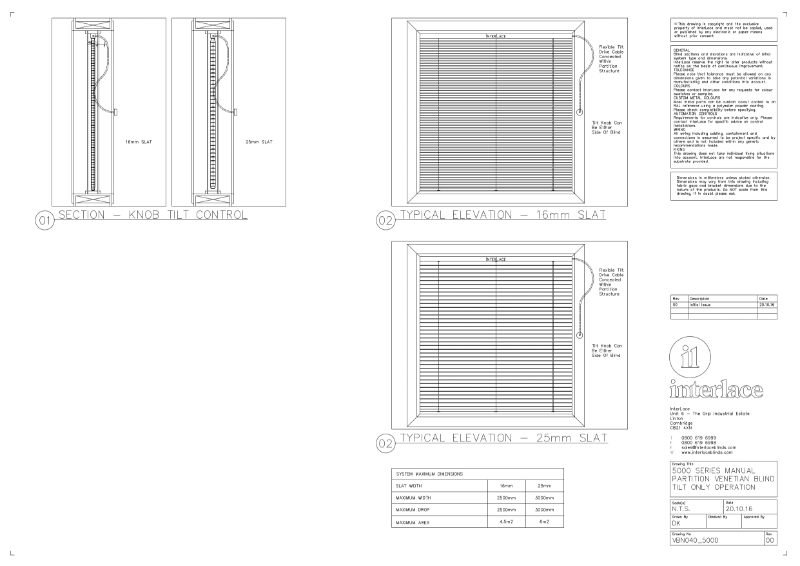 5000 Series Venetian Blind - Drawing Manual Partition