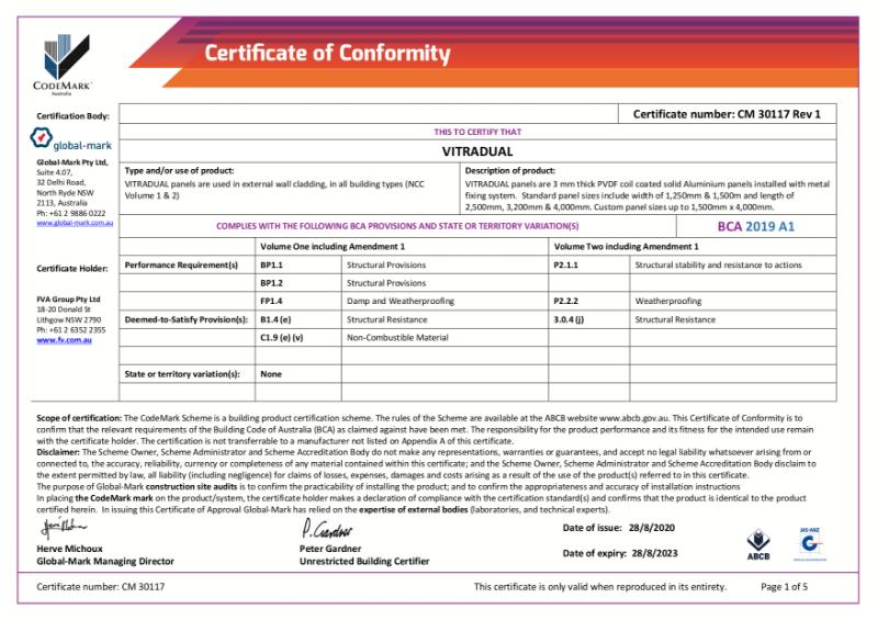 CodeMark Certificate of Conformity - Vitradual