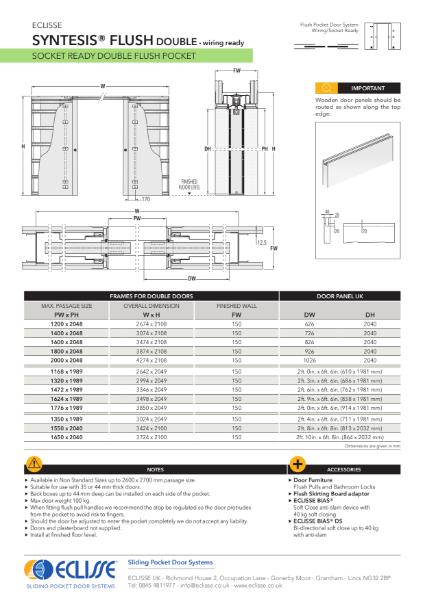 Syntesis®  Flush Pocket Door System Wiring Ready