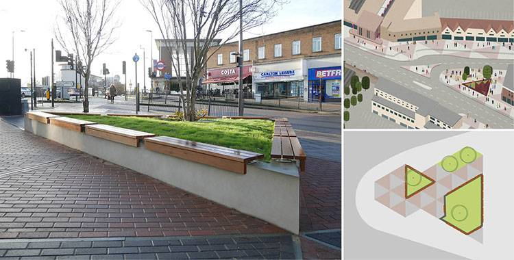 Planter wall-top seating for London public space