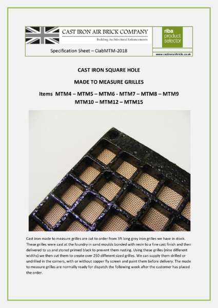 Size Guide for Cast Iron Made to Measure Grilles