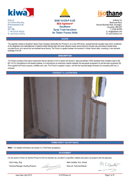 Duratherm timber framed wall insulation