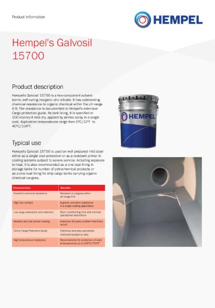 Hempel's Galvosil 15700 Product Information Sheet