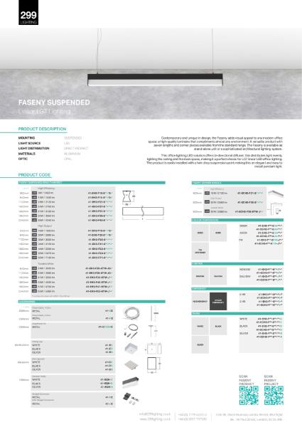 Faseny Suspended Feature Lighting Datasheet