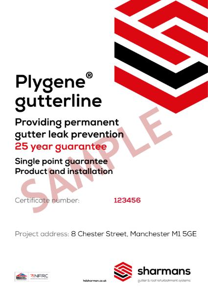 Sample Single Point Guarantee certificate