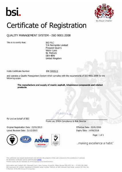 ISO 9001:2008 Certificate (Grangemill)