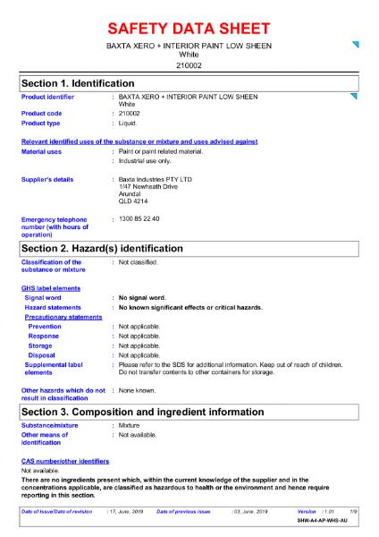 Baxta Xero Interior Paint Safety Data Sheet