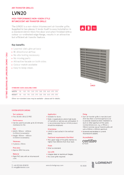 Lorient Air Transfer Grille Datasheets