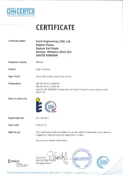 DIN CERTCO Solar Thermal certificate