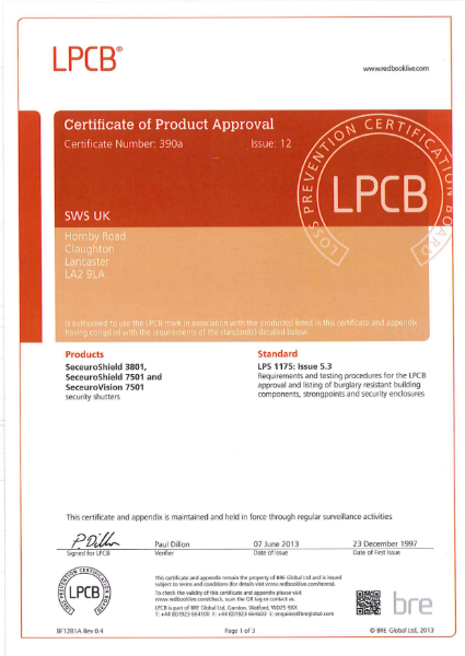 BRE Certification for CD3801, CD7501